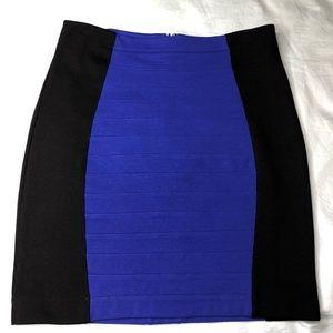 Express faux bandage black/blue skirt, sz 6